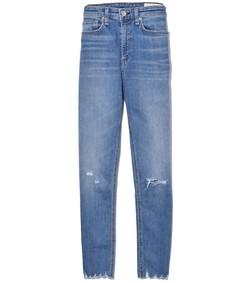 nina high rise ankle skinny jean in vernon holes