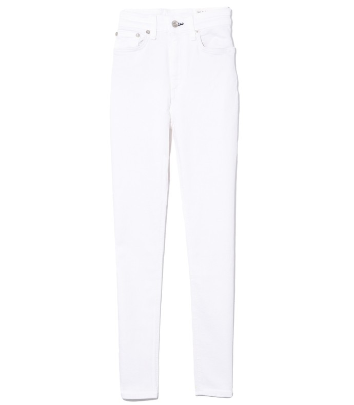 nina high rise ankle skinny jean in white