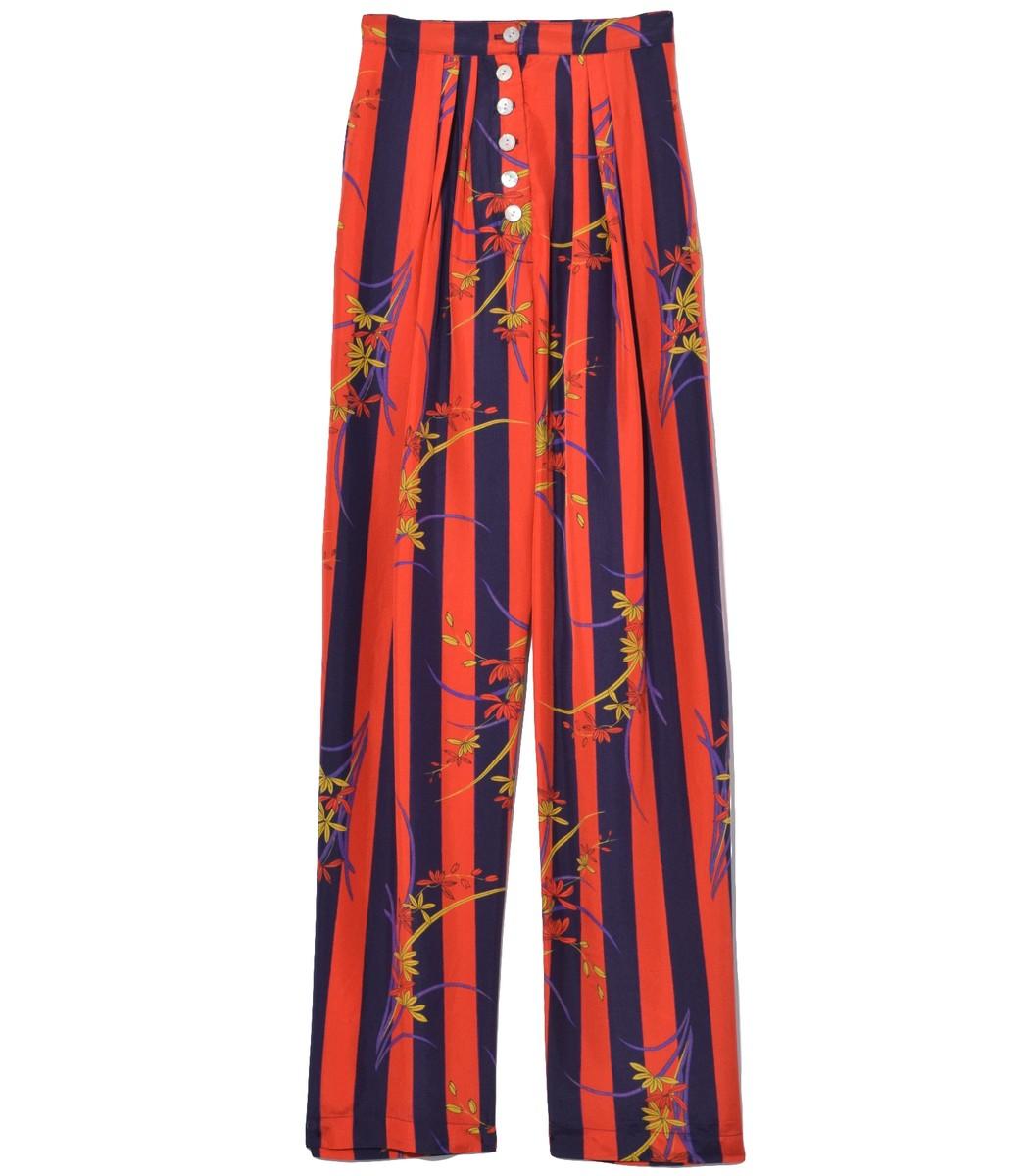 Raquel Allegra Pants Button Front Trouser in Nightshade Stripe