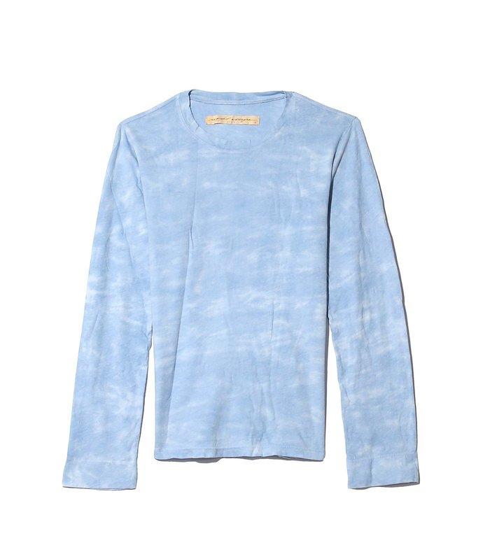 cotton jersey long sleeve crew in baby blue tie dye