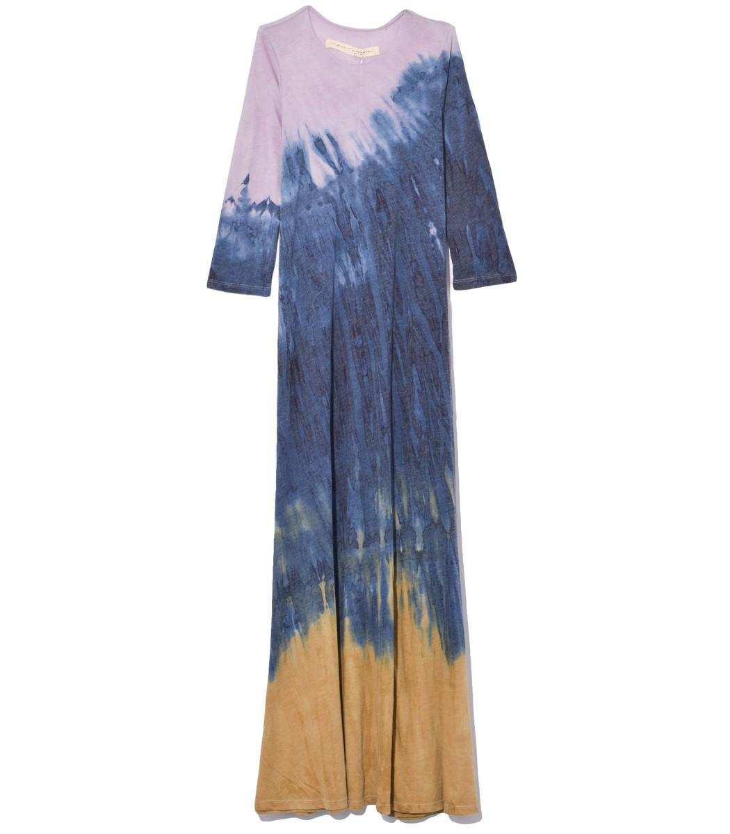 Raquel Allegra Half Sleeve Drama Maxi Dress in Gold Rainbow