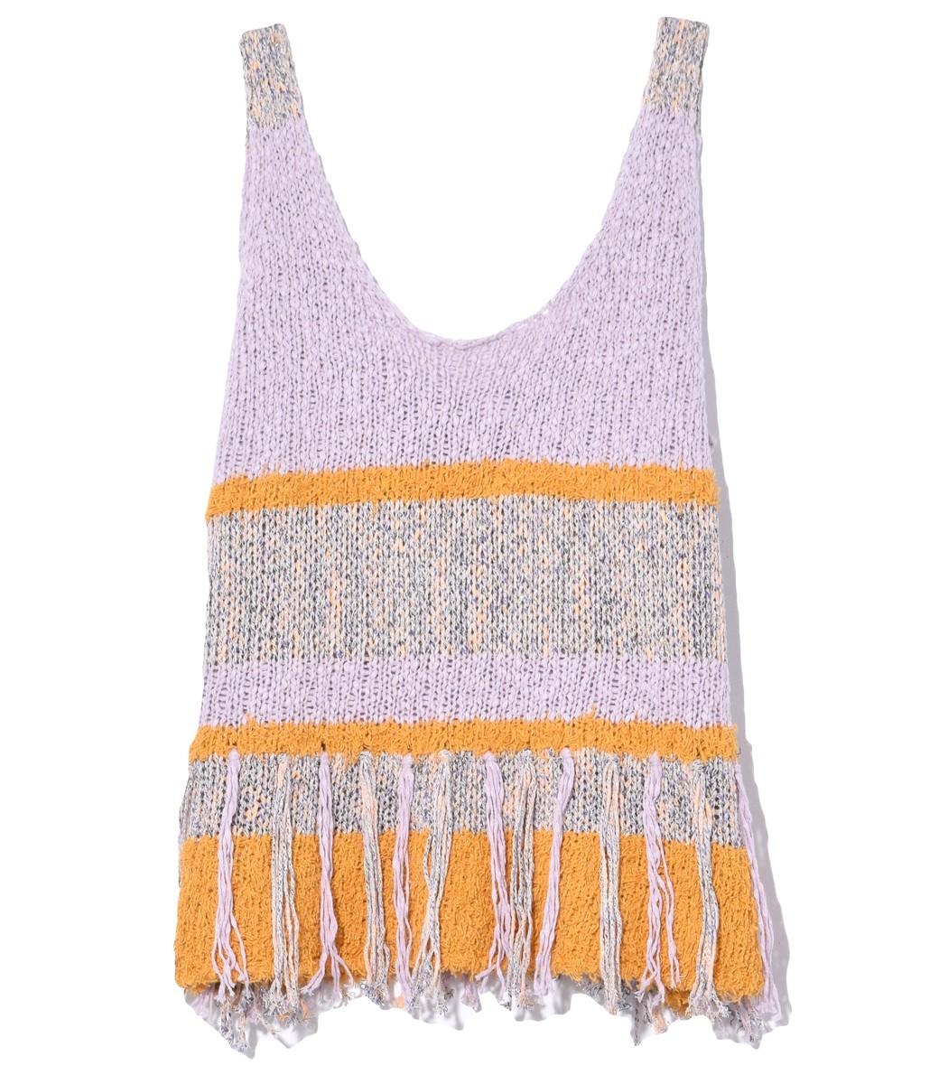 Raquel Allegra Knits Knit Tank in Lilac/Gold