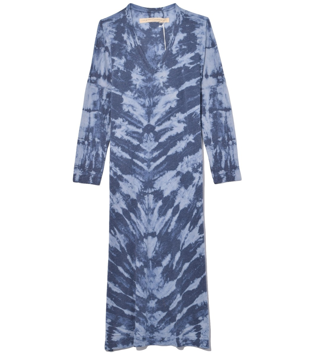 Raquel Allegra Tops Long Sleeve V-Neck Caftan in Water Tie Dye