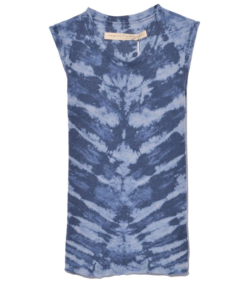 Raquel Allegra Tops Muscle Tank in Water Tie Dye