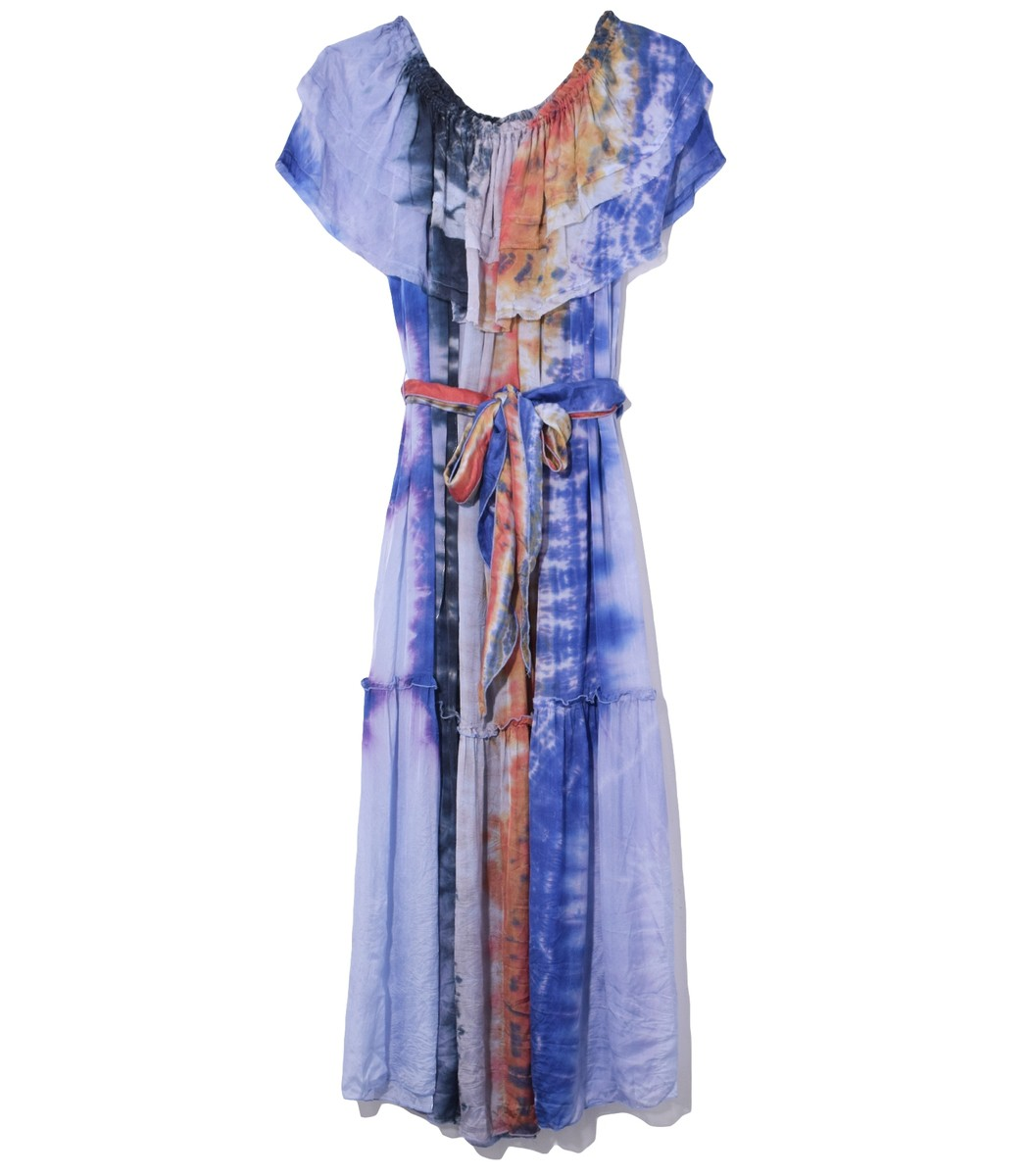 2b902ed0a58 Raquel Allegra Ruffle Maxi Dress In Waterfall Rainbow Tie Dye In Multi