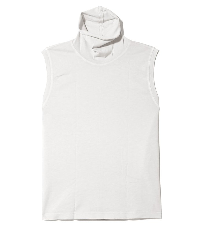 sueded baby jersey turtleneck in dirty white