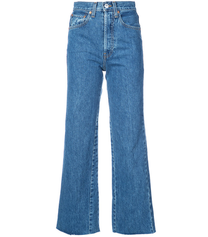 blue wide leg cropped jeans