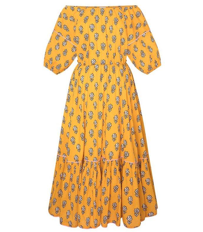 frida dress in yellow flower