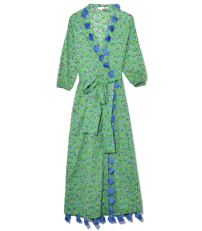 lena dress in turquoise ditsy floral