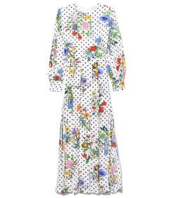 emma dress in floral spot white black
