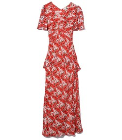 evie dress in red diana floral