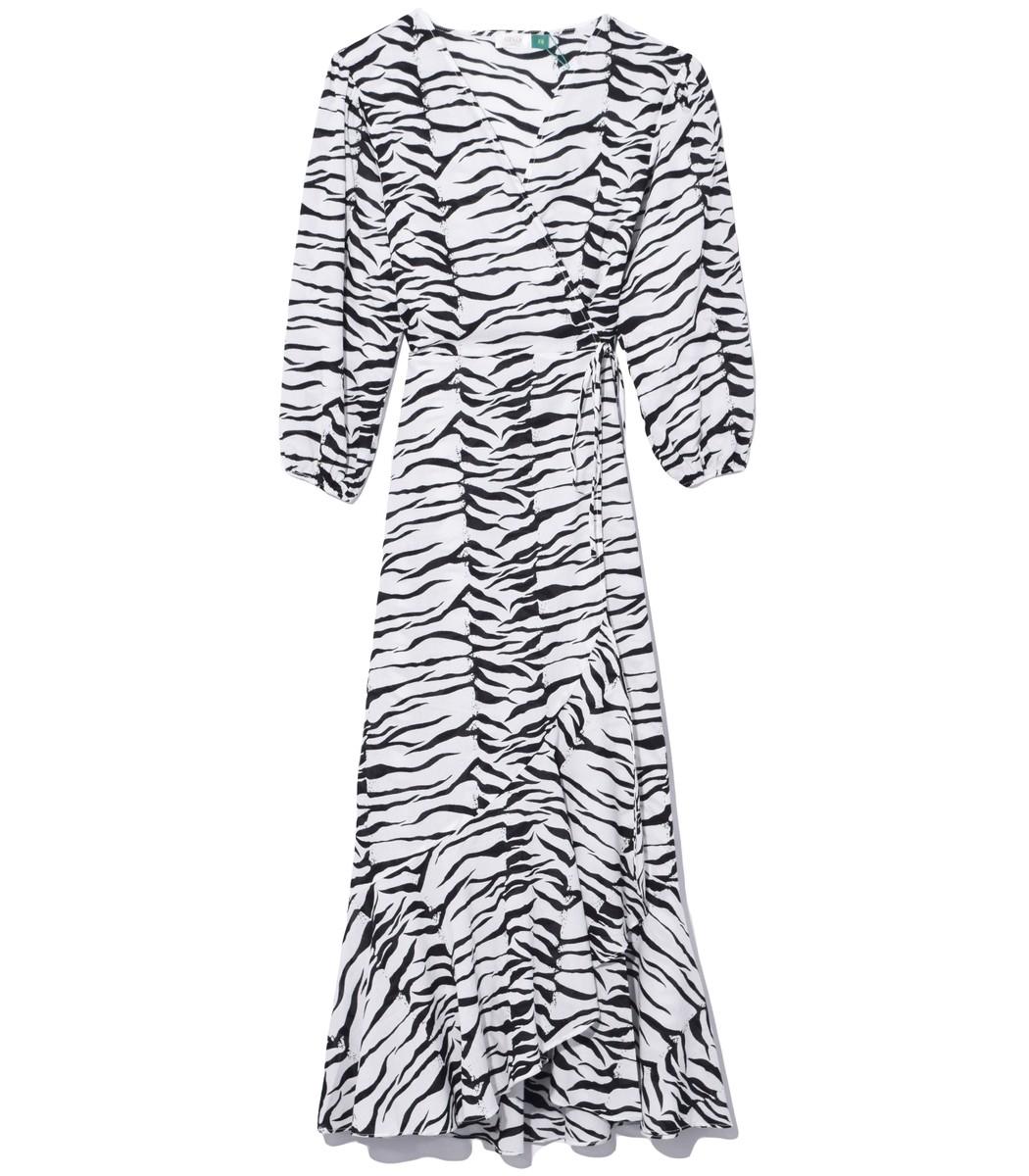 Rixo London Noleen Dress in Mono Tiger