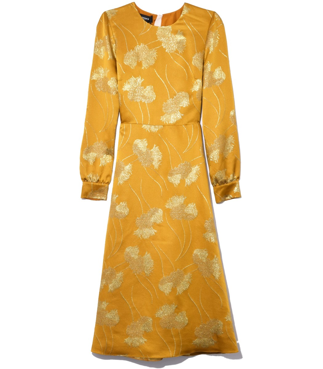 ROCHAS Medium Orange Floral A Line Dress