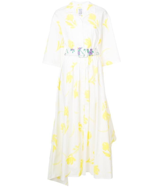 yellow/white poplin belted tulips dress