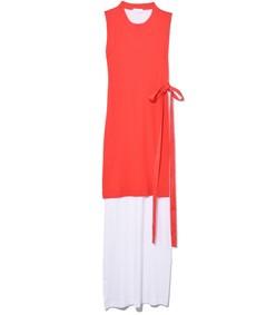 blocked split dress in white/poppy