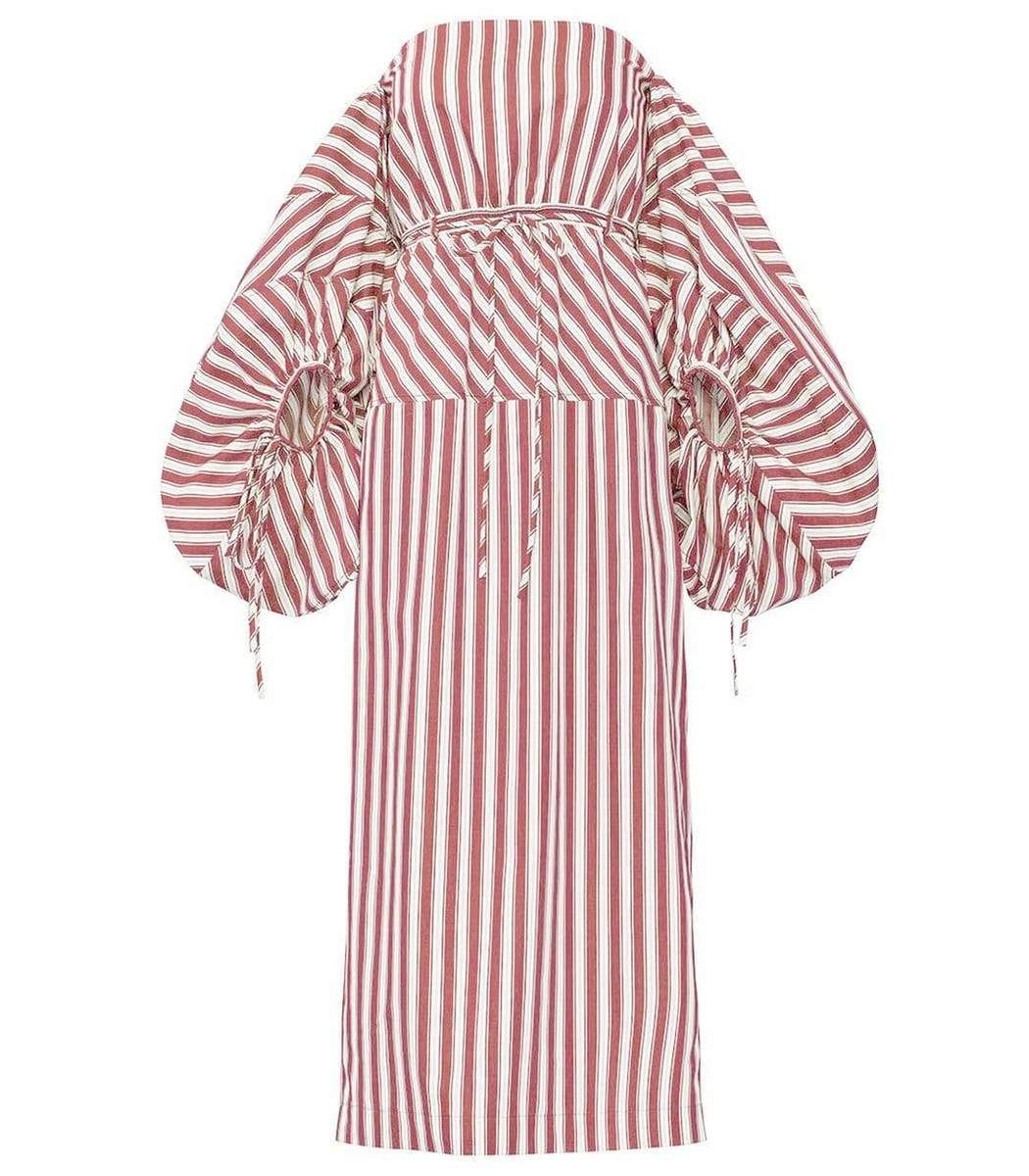 Rosie Assoulin Red and White Striped Balloon Sleeve Midi Dress