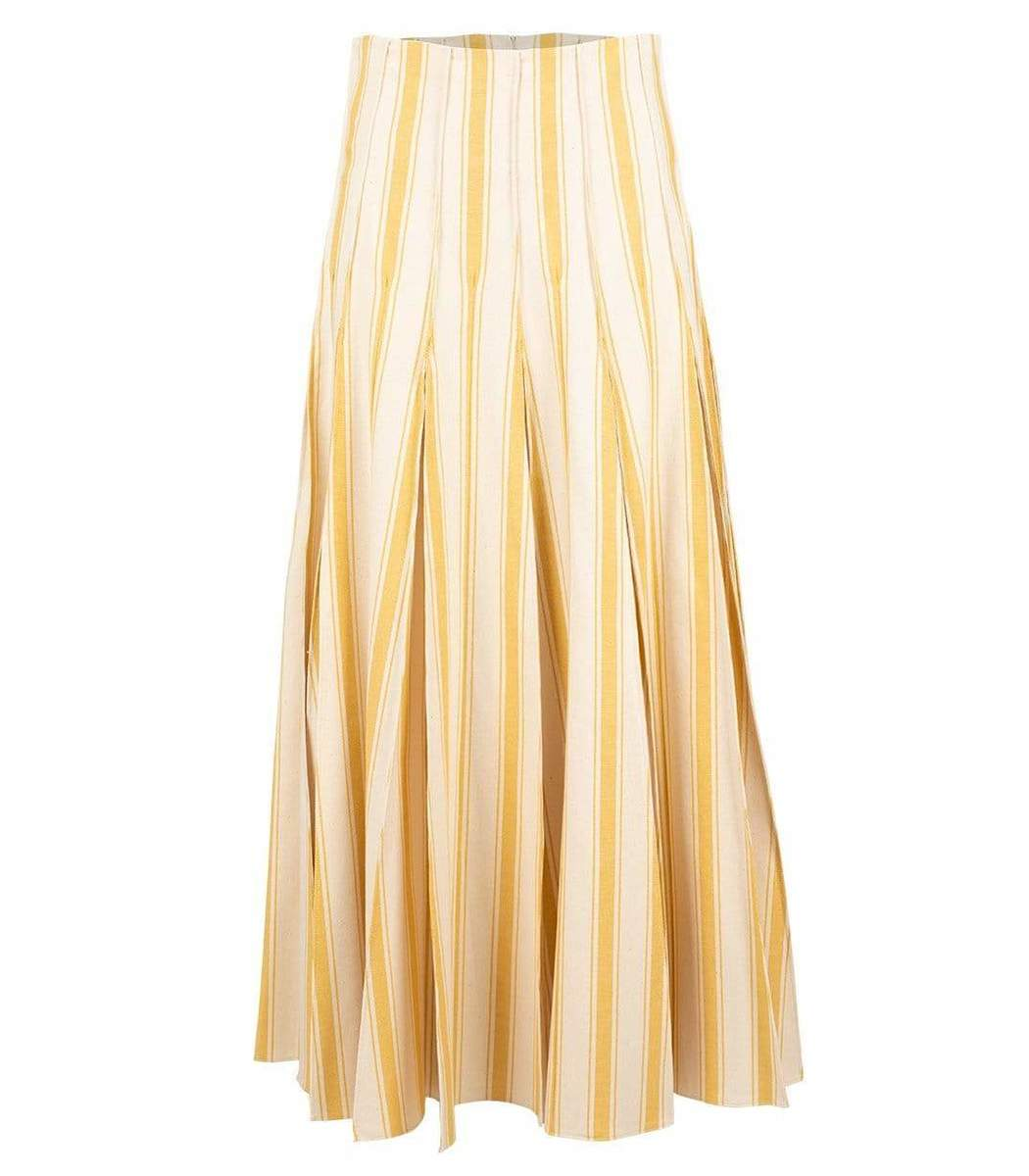 Rosie Assoulin Yellow and White Million Pleats Maxi Skirt