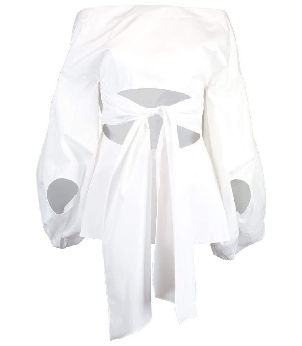 Rosie Assoulin Fig Cutout Puff-Sleeve Cotton Top
