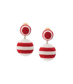 red/white two drop striped earring