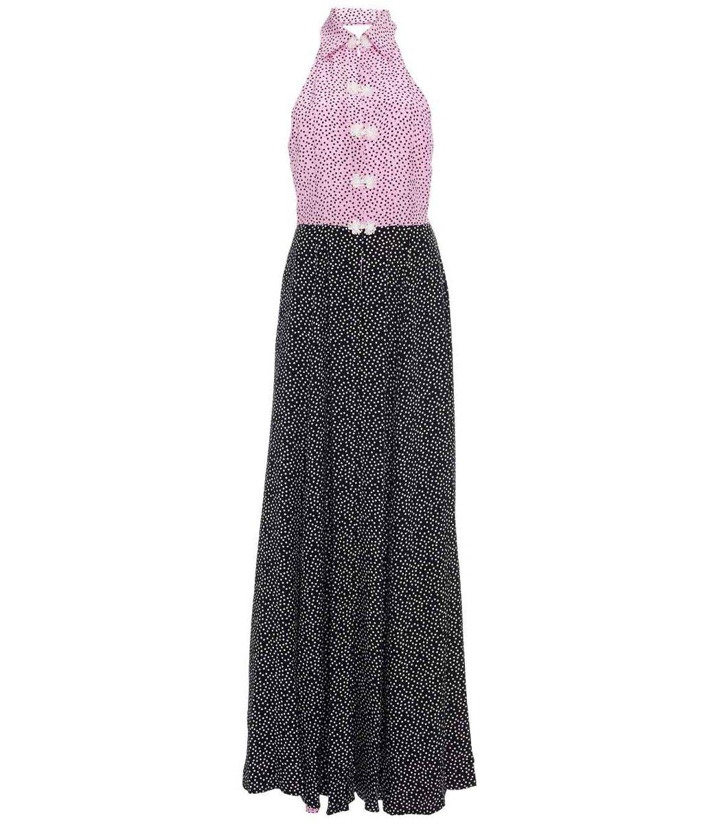 Rebecca De Ravenel Two-Toned Polka Dot Halter Neck Maxi Dress
