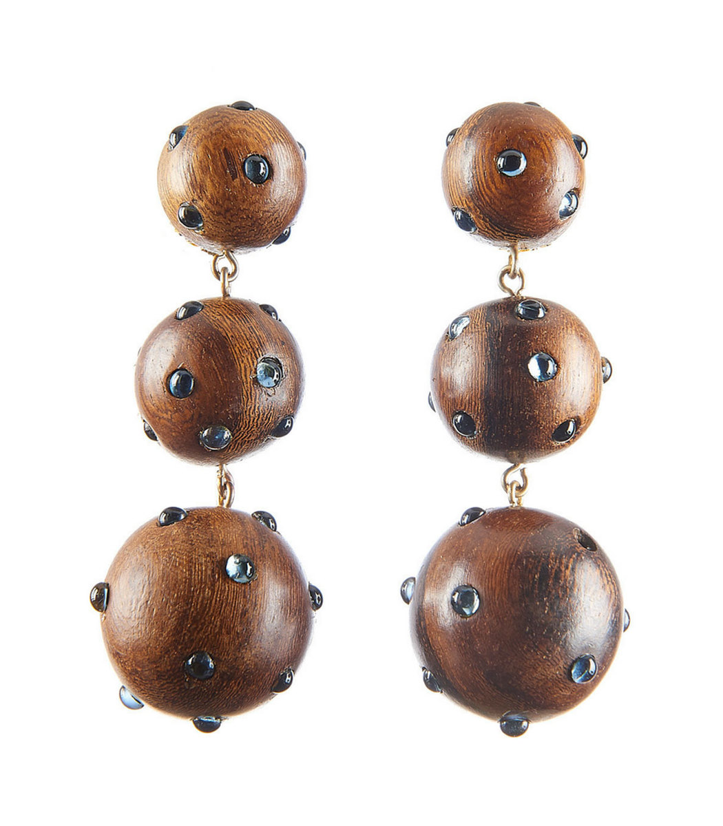 Brown Three Drop Wooden Earrings