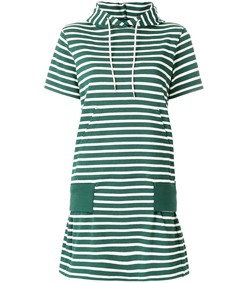 green white hooded striped dress