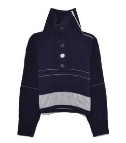 blanket pullover in navy/light grey