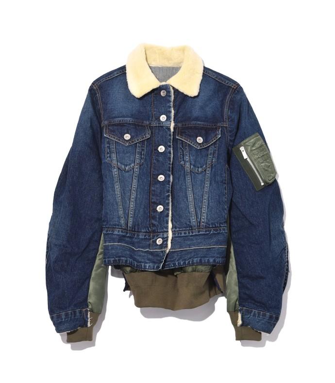 blue denim ma-1 combo jacket