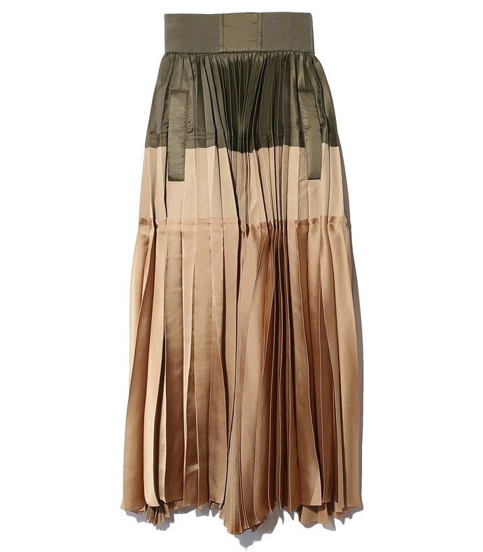 fabric combo pleated skirt in khaki/beige
