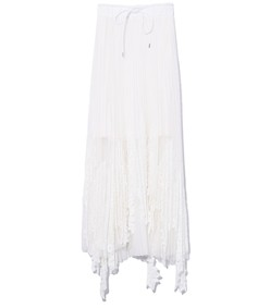 lace x tulle skirt in off white