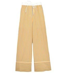 stripe shirting pajama pants in yellow