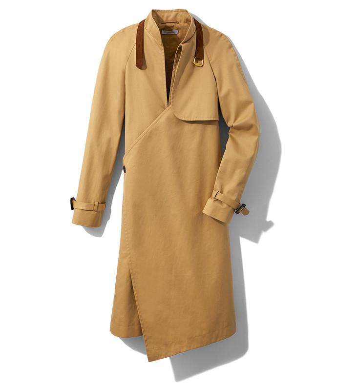 hemp asymmetric trench coat