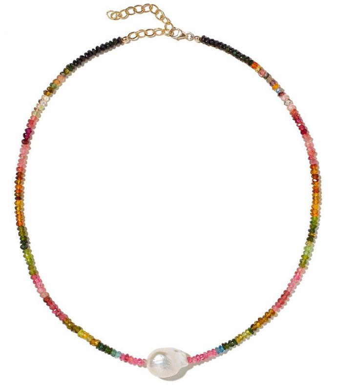 multi tourmaline single baroquepearl gemstone necklace