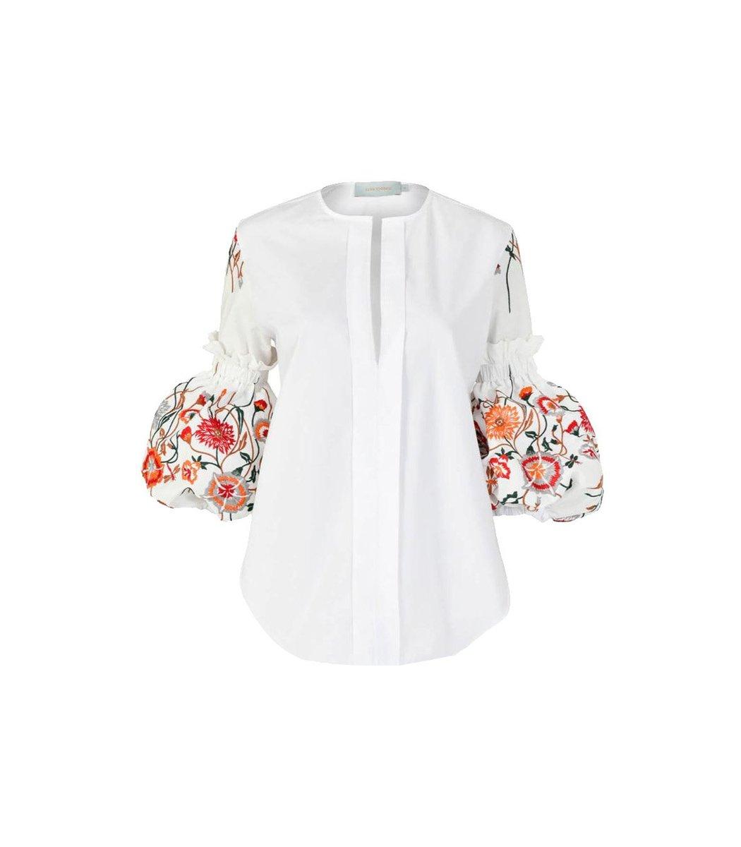 Silvia Tcherassi Clothing Lucaya Puff Sleeve Rose Embroidered shirt