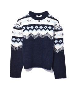 fair isle shirred sleeve sweater in blue