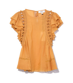 goldenrod khloe crochet pom pom top