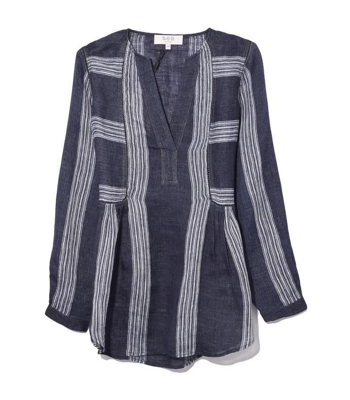 lyndee linen long sleeve shirt in navy multi