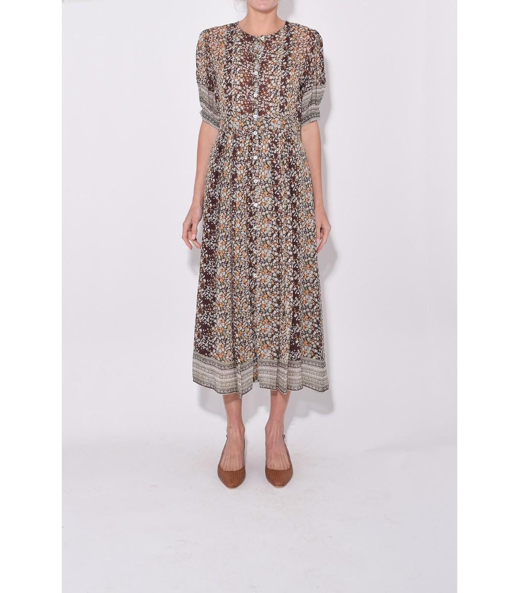 08bd28cdf18 Sea Maya Short Sleeve Midi Dress in Brown Multi - ShopBAZAAR