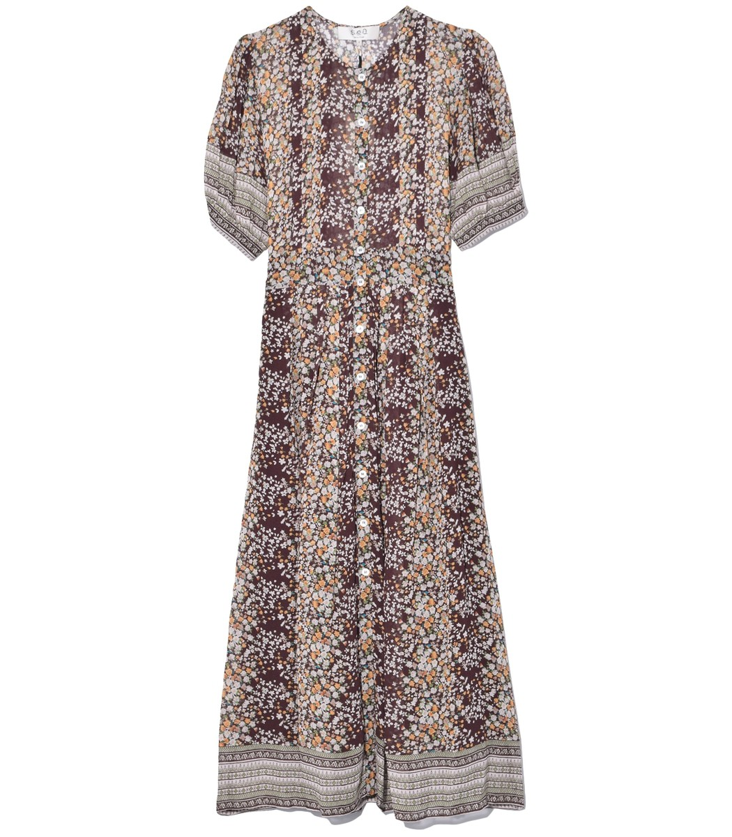 a17688e1db1e Sea Maya Short Sleeve Midi Dress in Brown Multi - ShopBAZAAR