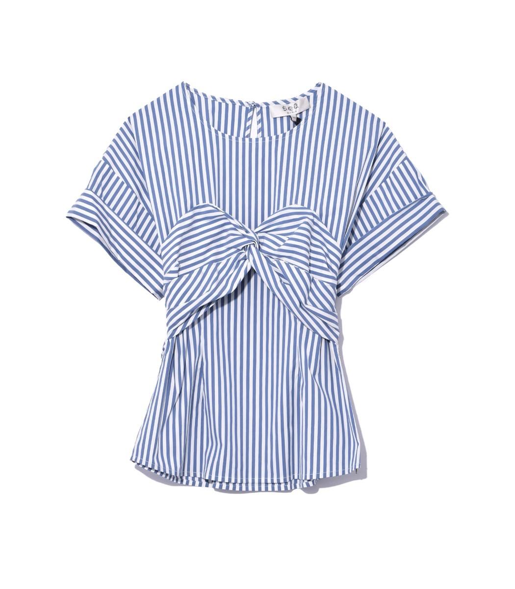 SEA White/Blue Stripe Corset Tee