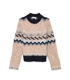 fair isle jacquard knit sweater in beige/grey