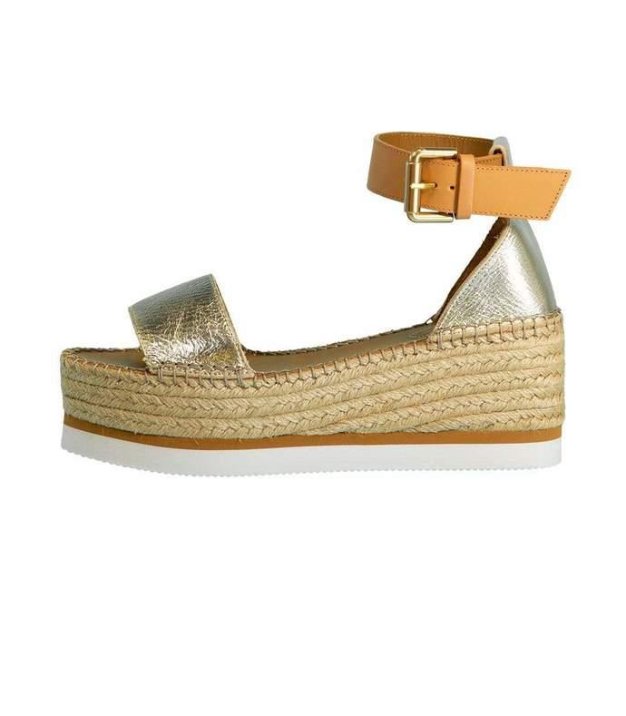 metallic glyn platform espadrille sandal