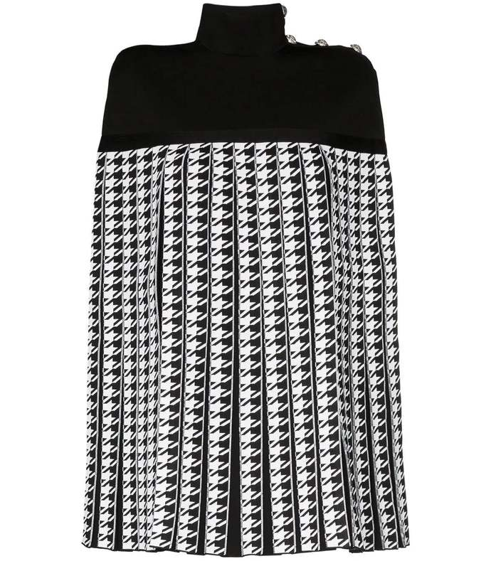 houndstooth pleated cape coat