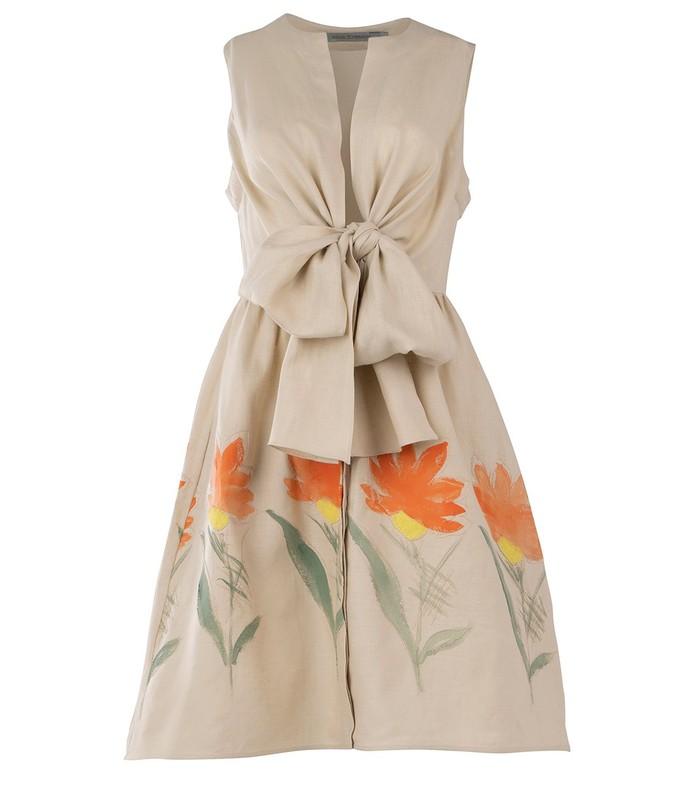 brinda dress in natural linen