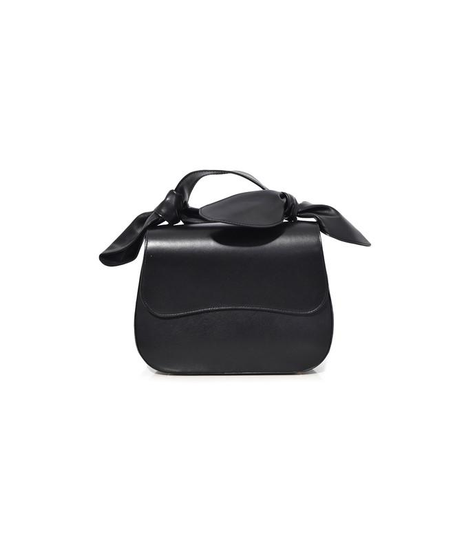 black double bow handle little bag