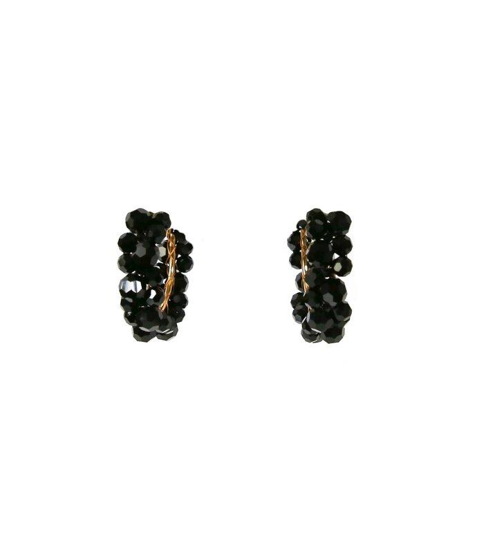 medium wiggle crystal hoop earring in black