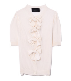 puff sleeve bow cardigan in ivory