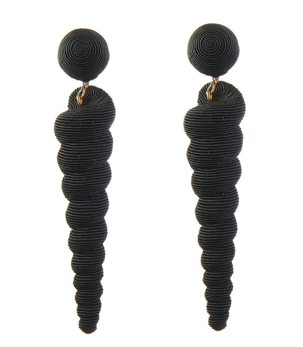 REBECCA DE RAVENEL Black Small Twisty Drop Earring