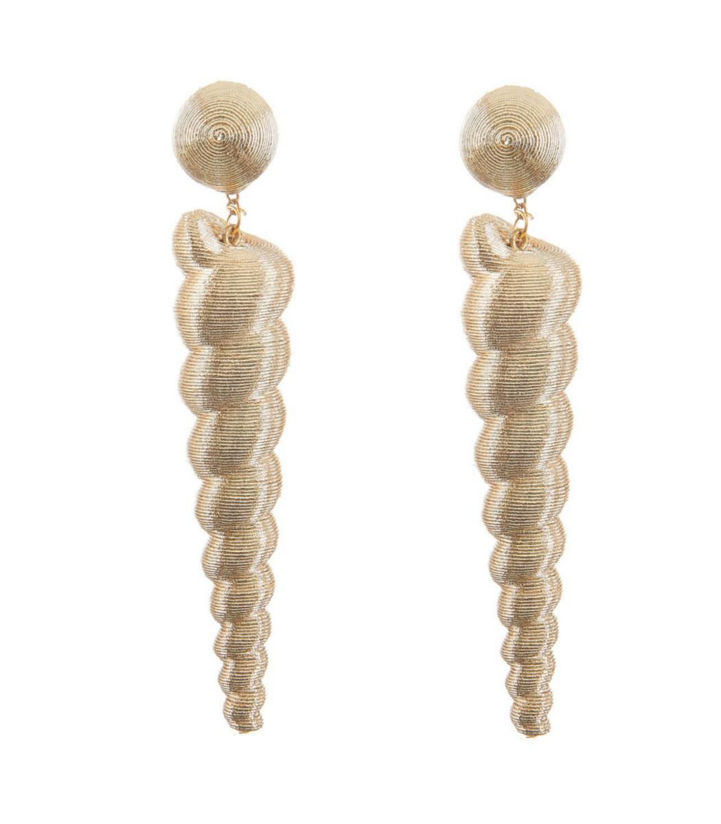 REBECCA DE RAVENEL Gold Small Twisty Drop Earring