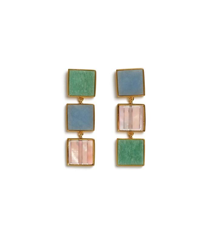 treasure island earrings in blue/green
